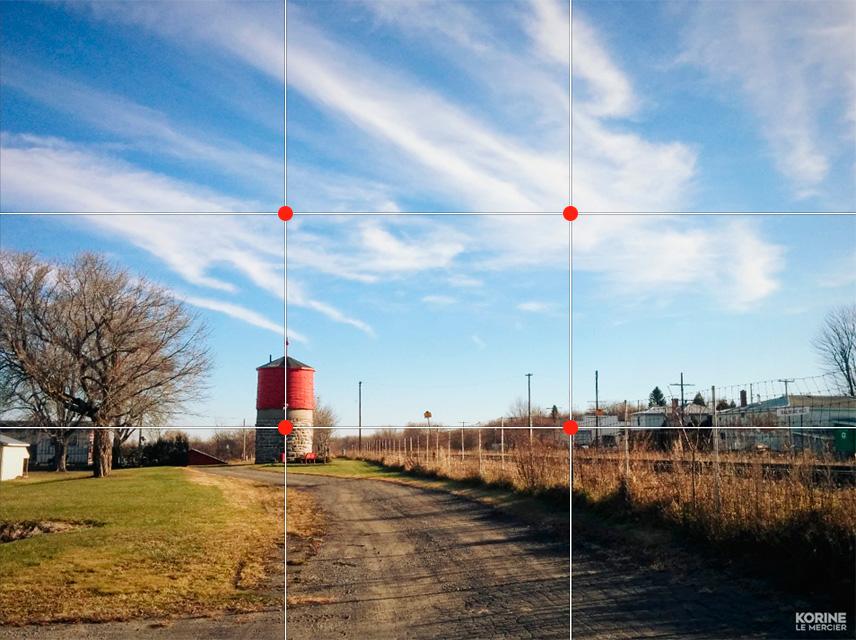 Règle des tiers et points de force en photo de paysage
